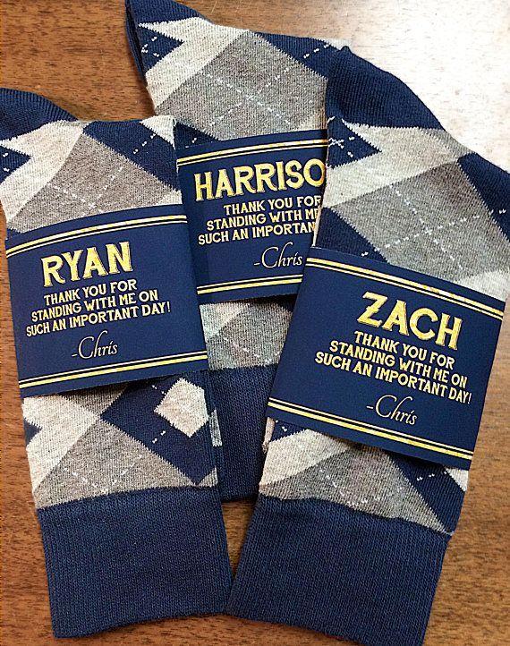 THE ORIGINAL Custom Groomsmen Socks Gift | Navy and Gold Groomsman Sock Label