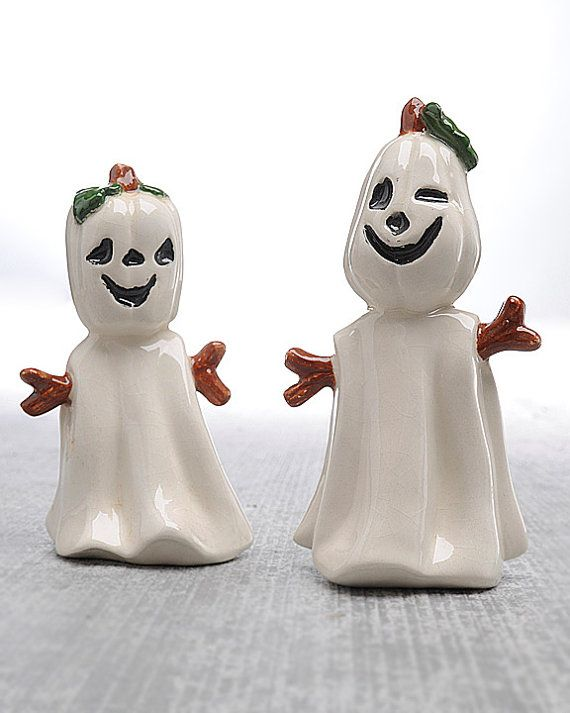 Vintage Halloween Decor Ghost Figurines Pumpkin Head Doublesided Face White Cute Fun And Playful Kids