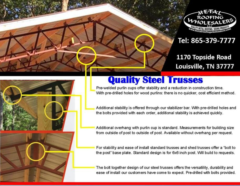 Steel Trusses Metal Roofing Wholesalers Knoxville Tn In 2020 Steel Trusses Metal Roof Pole Barn Trusses