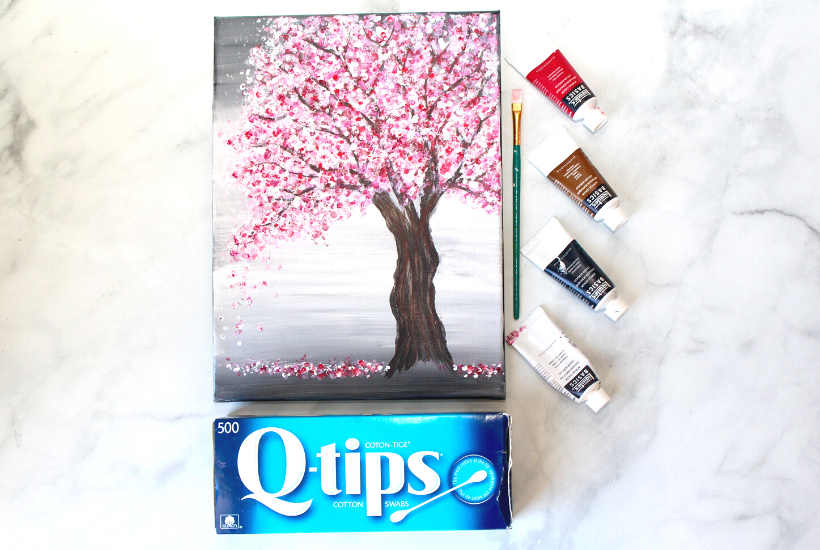 Painting A Cherry Blossom Tree With Acrylics And Cotton Swabs Cherry Blossom Painting Acrylic Cherry Blossom Painting Cherry Blossom Art