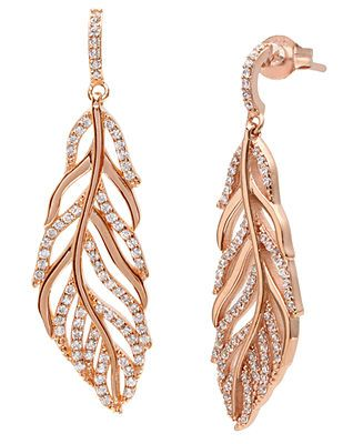 18k Rose Gold Feather Earrings With Cubic Zirconia Fashion Jewelry Gold Feather Earrings Earrings Collection
