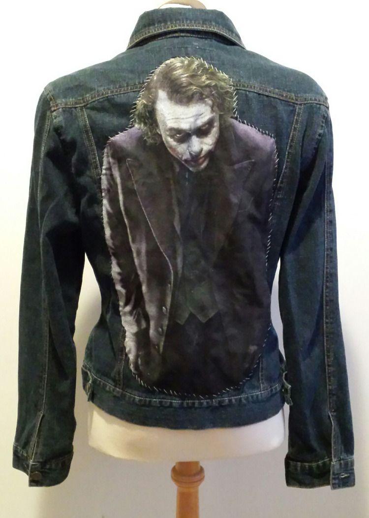 Denim Joker Themed Jacket Custom Denim Jacket Denim Jacket Women Jackets [ 1053 x 750 Pixel ]
