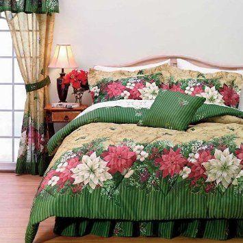 Christmas Poinsettia Comforter Set Twin Holiday Bedding Holiday