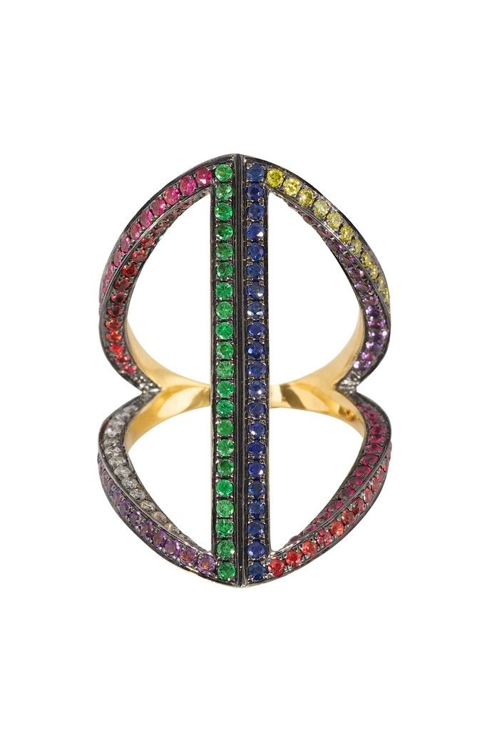 Noor Fares Ring / Diamond, Sapphire, Amethyst, Ruby and Tsavorite