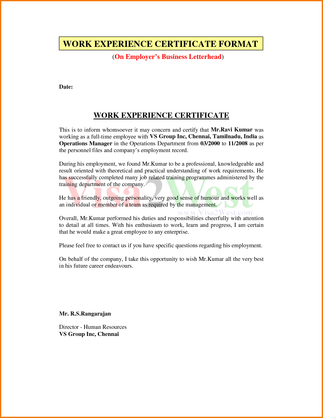 Letter Format Pdf Financial Statement Form Experience Certificate