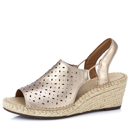 clarks artisan leather espadrille wedge sandals