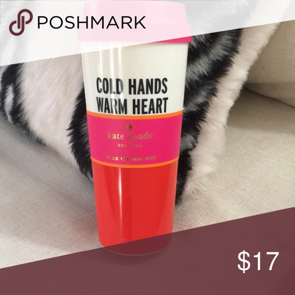 Kate Spade Cold Hands Warm Heart Thermal Mug . NWT So Nice