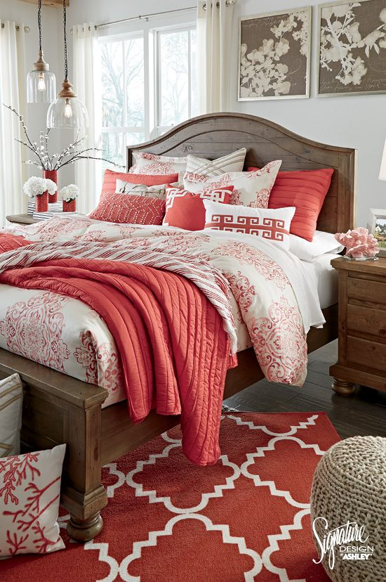 Ashleyfurniture Color Your World With Shades Of Coral White And