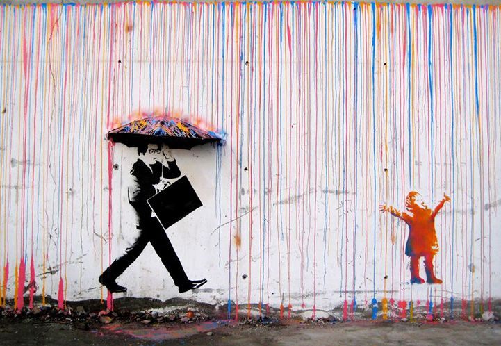3d Mural Shows Opposite Reactions To Colorful Rain Street Art