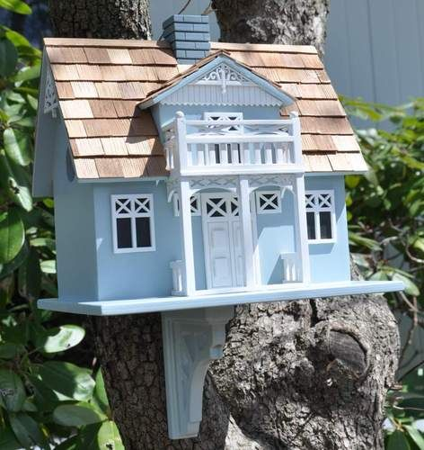 Danish Cottage Birdhouse w/ Balcony by Home Bazaar ~ Mounting Bracket Included !