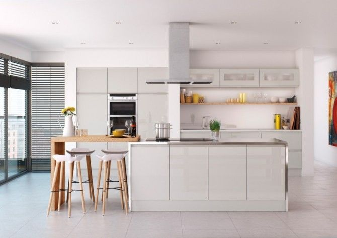 Light Grey Gloss Kitchen In A Contemporary J Pull Handleless Style - Light grey gloss kitchen cabinets