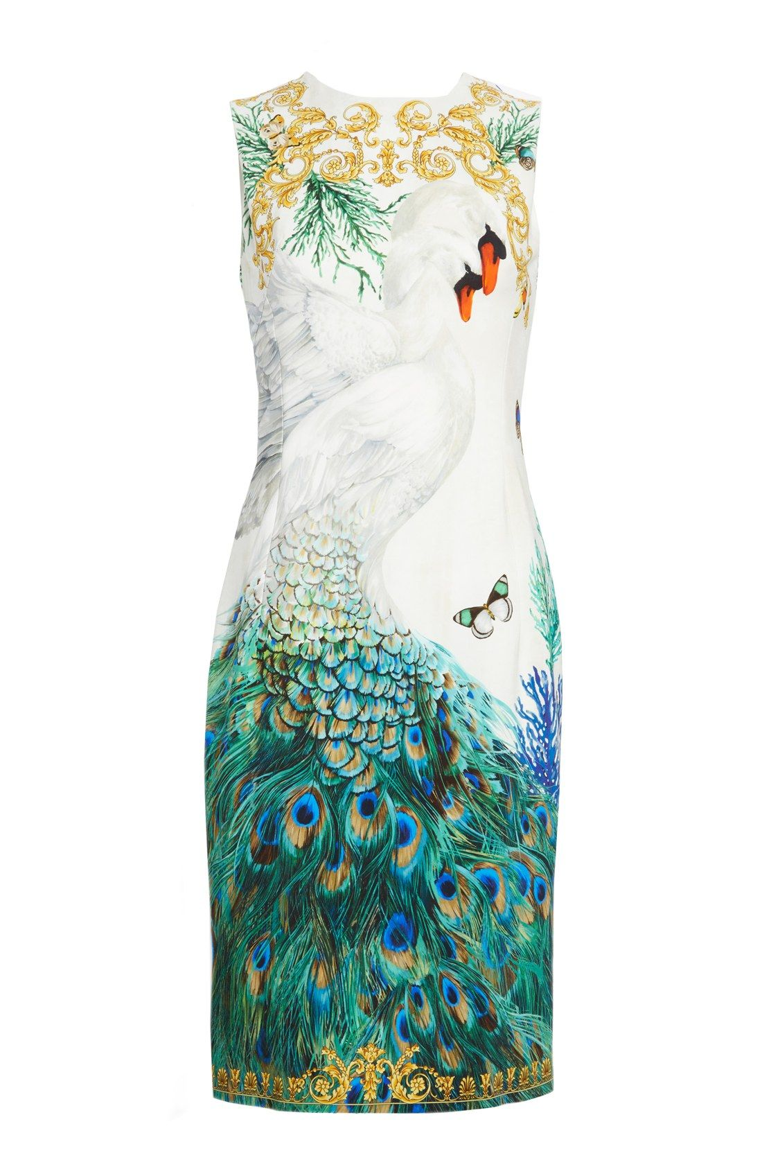 051e6718e047 Versace Collection Placed Swan Print Sheath Dress