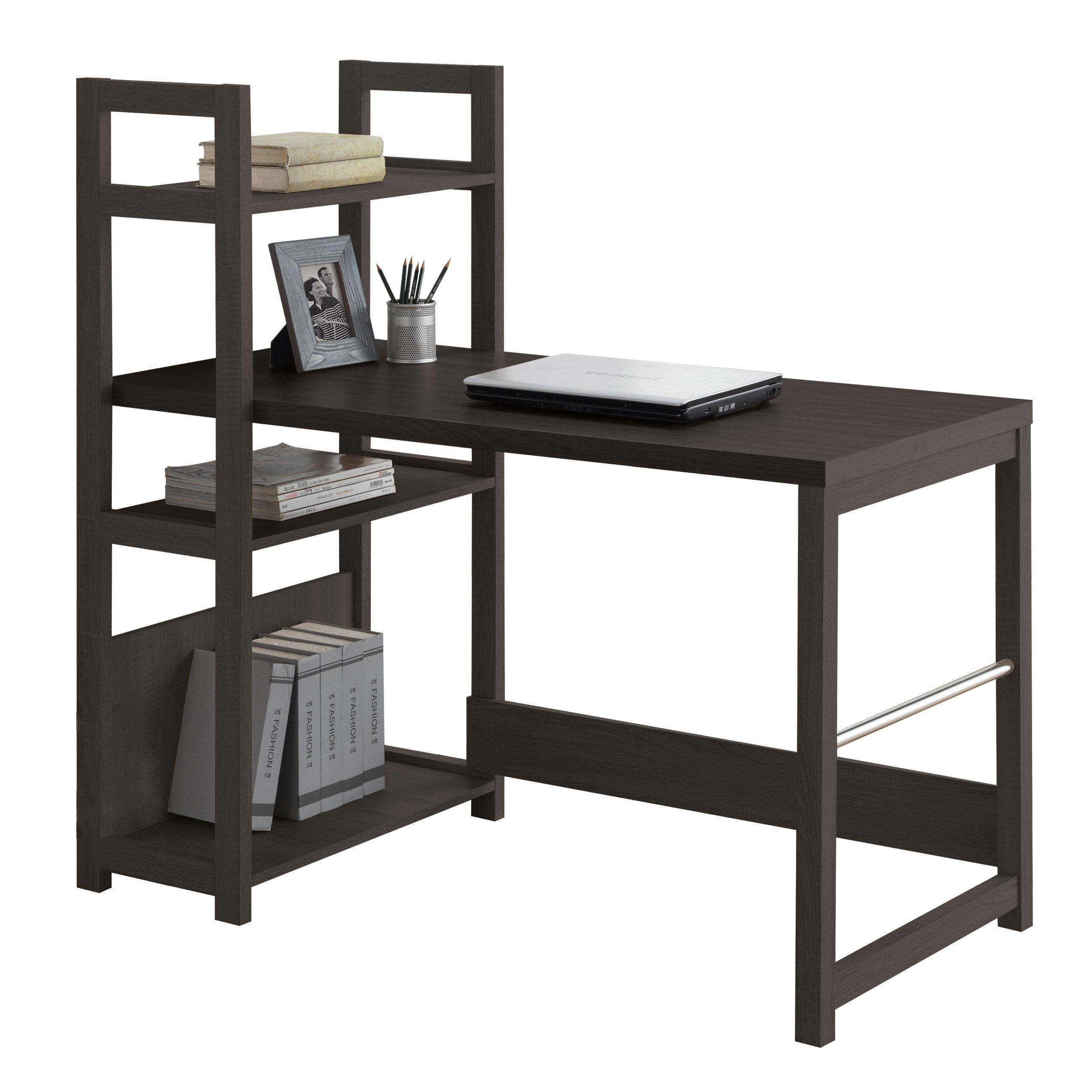 Corliving wfpd folio bookshelf styled desk rich espresso
