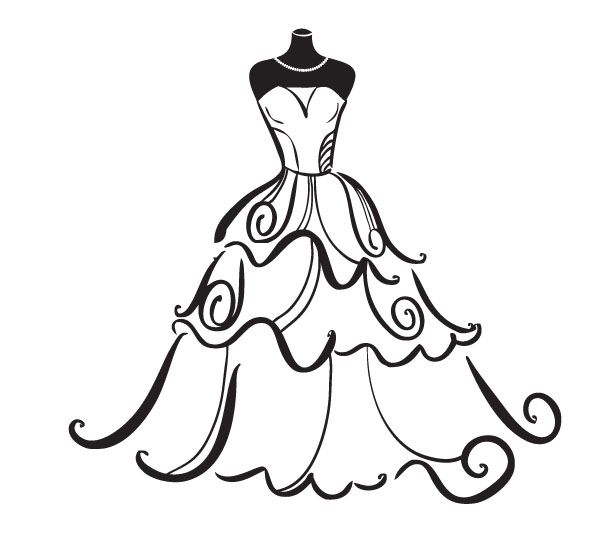 wedding dress clipart free clipart best siluete pinterest rh pinterest com dress clipart black and white dress clip art picture
