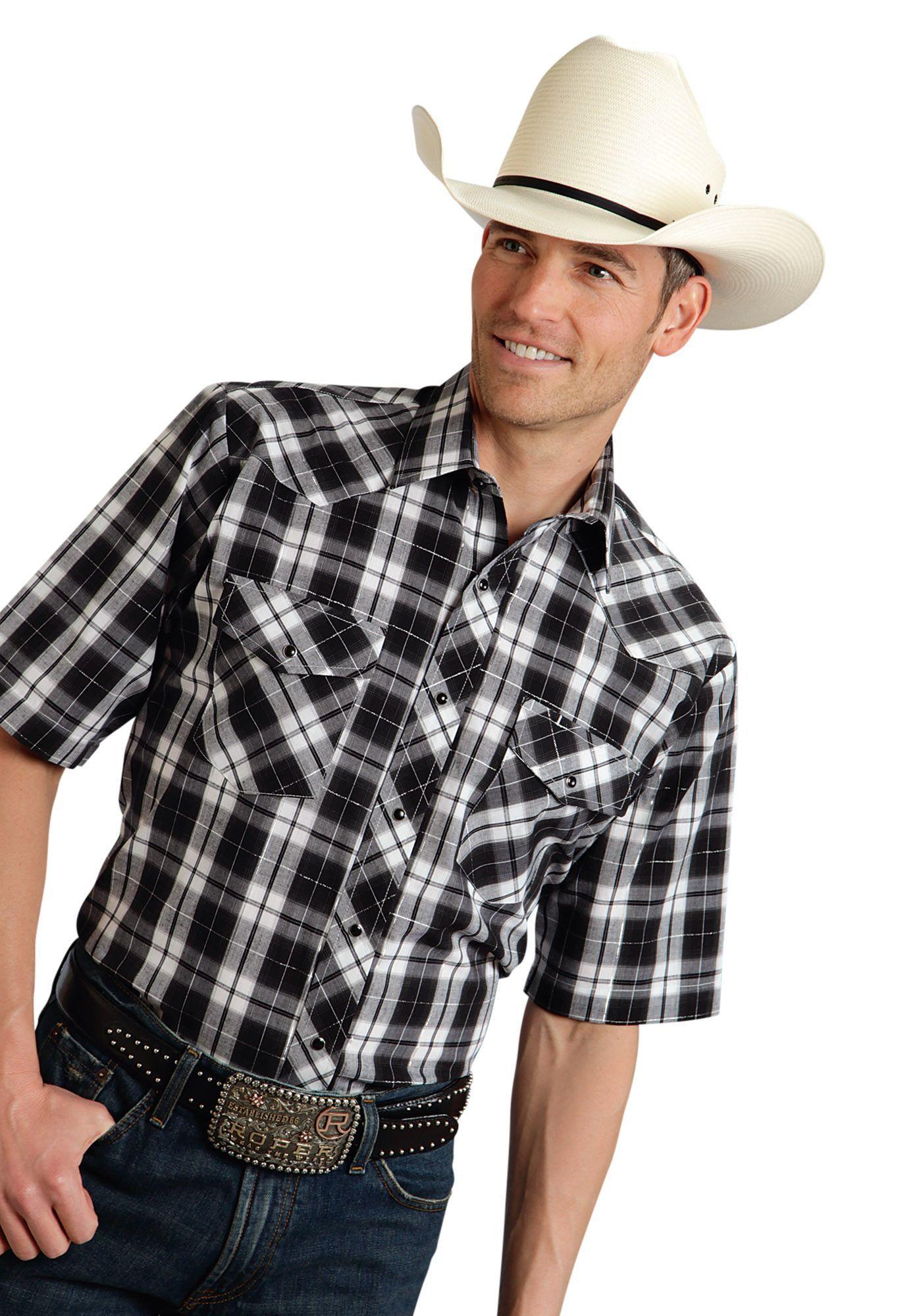 de61ab83 Roper Mens 9670 Big Bl & Wh Plaid W/silver Lining Poly Cotton 55/45 Plaids  Short Sleeve Shirt Snap Closure - 2 Pocket