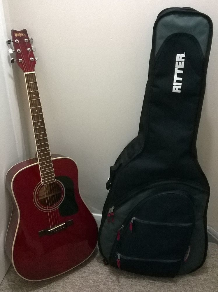 Washburn D11tr Acoustic Guitar Cherry Red Handcrafted Wood Dreadnought Soft Case Acoustic Guitar Guitar Washburn