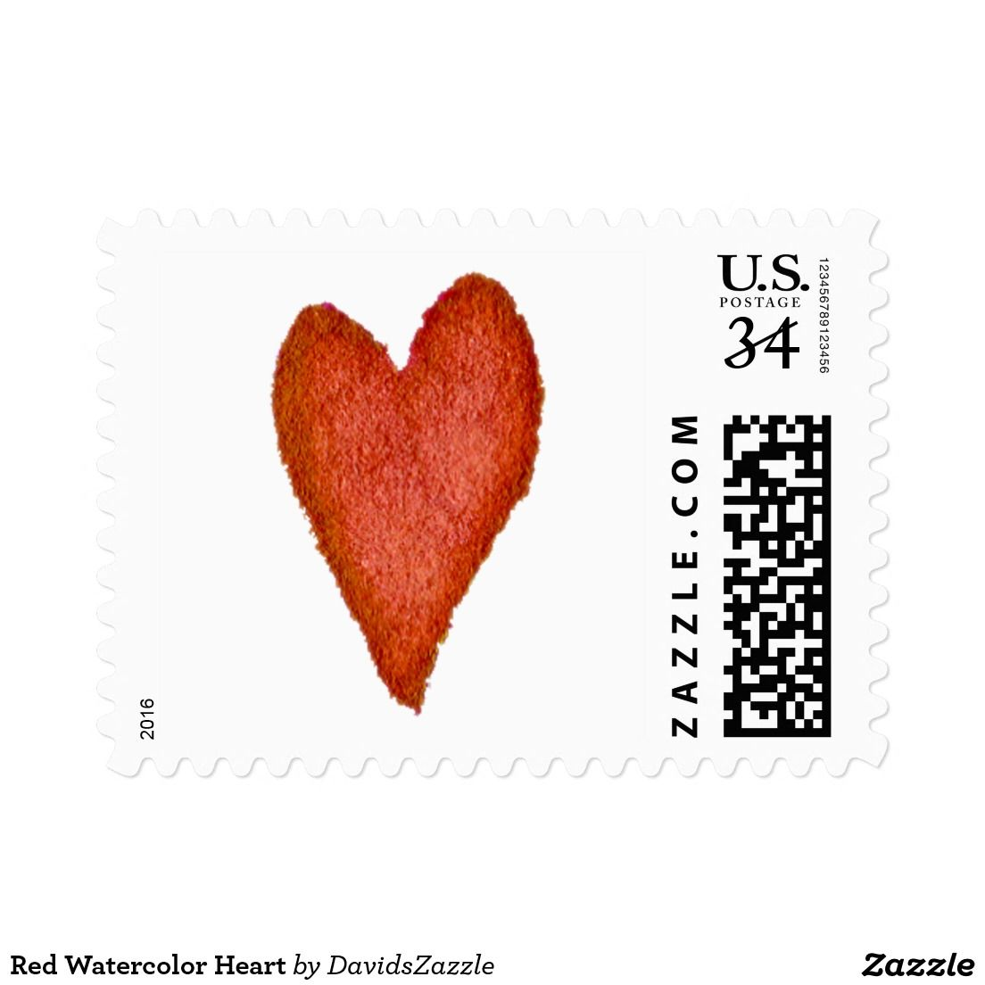 Red Watercolor Heart Postage  Watercolor Heart