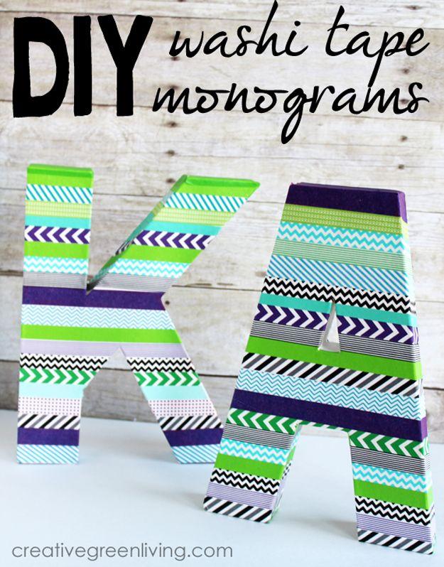 Cheap Washi Tape Art Projects | DIY Monograms by DIY Ready at http://diyready.com/100-creative-ways-to-use-washi-tape/