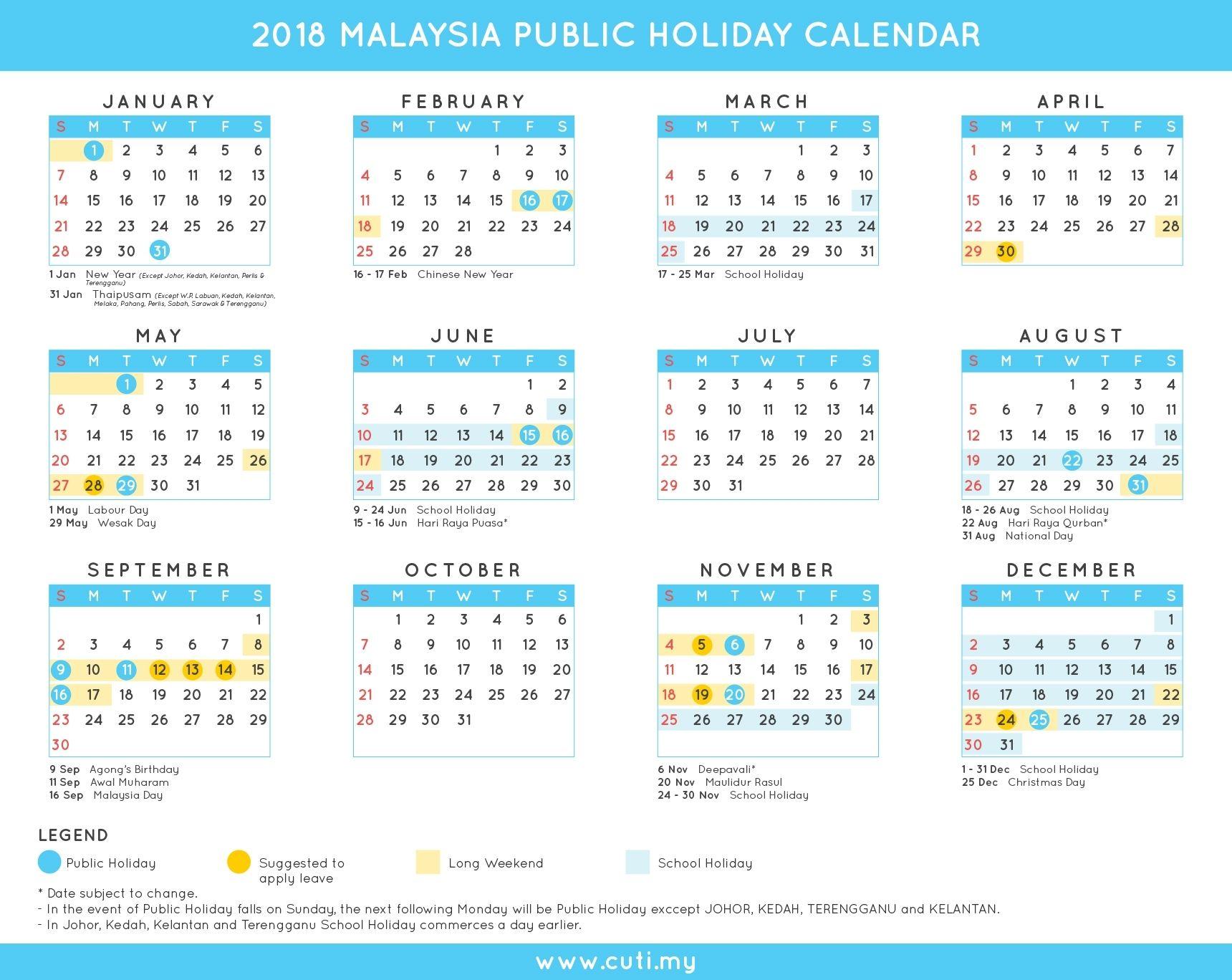 Malaysia 2018 Public Holidays Calendar Cuti My Travel Trips And Make It Holiday Calendar School Holiday Calendar Federal Holiday Calendar