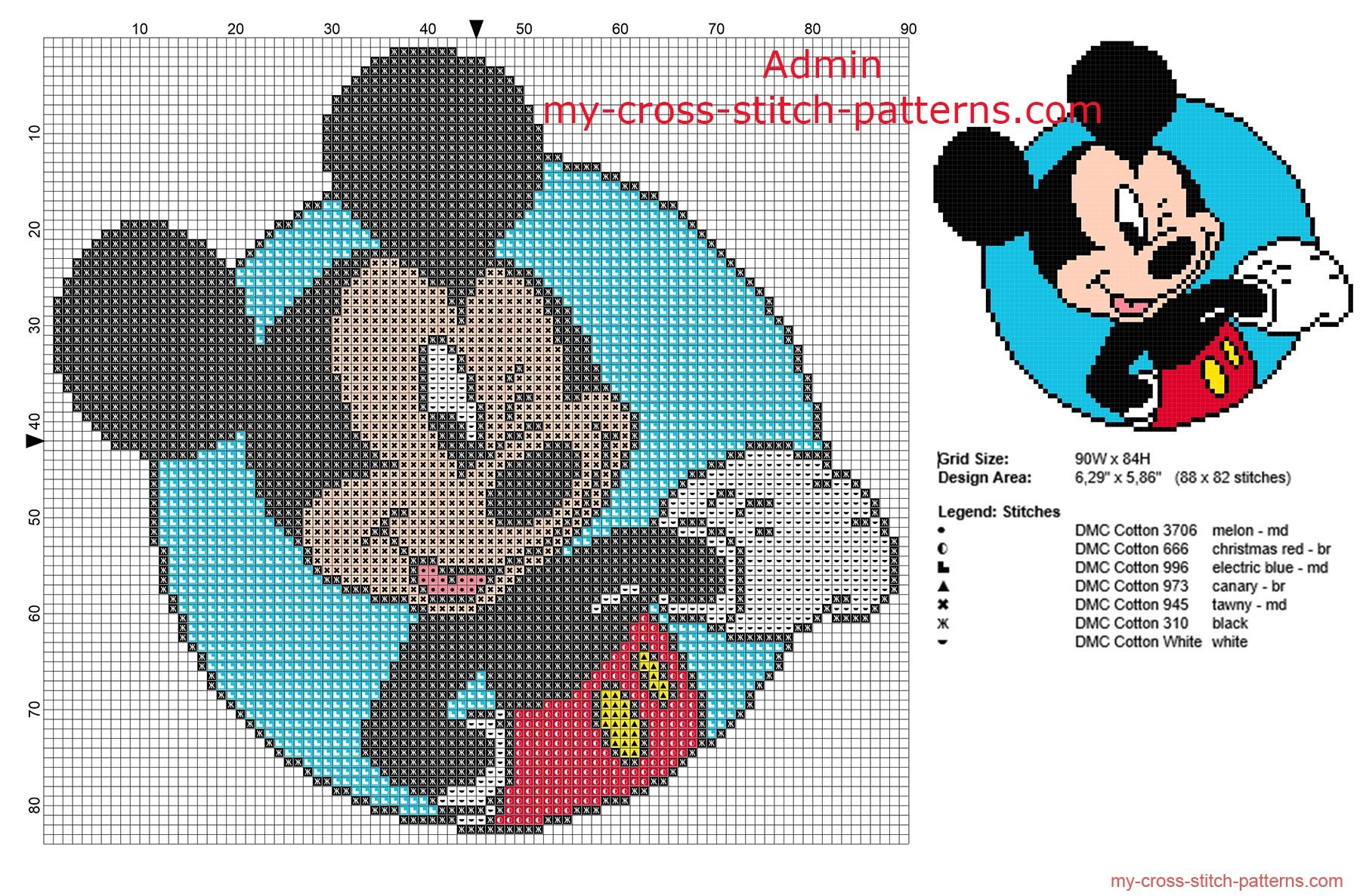 Disney Mickey Mouse wink in a circle frame free small cross stitch ...