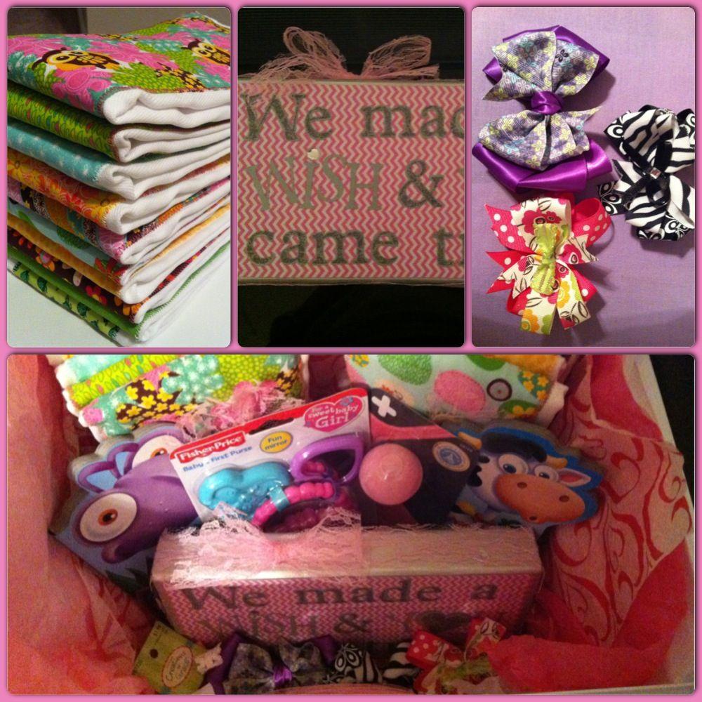 Hobby Lobby Baby Gift Ideas : Baby shower gift basket homemade burp rags hair