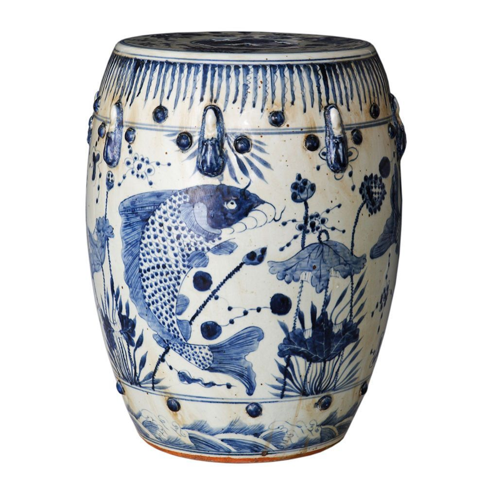 Vintage Style Blue And White Porcelain Garden Stool Fish