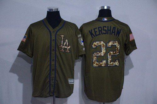 release date: e7821 c806b Men's Los Angeles Dodgers #22 Clayton Kershaw Green Salute ...