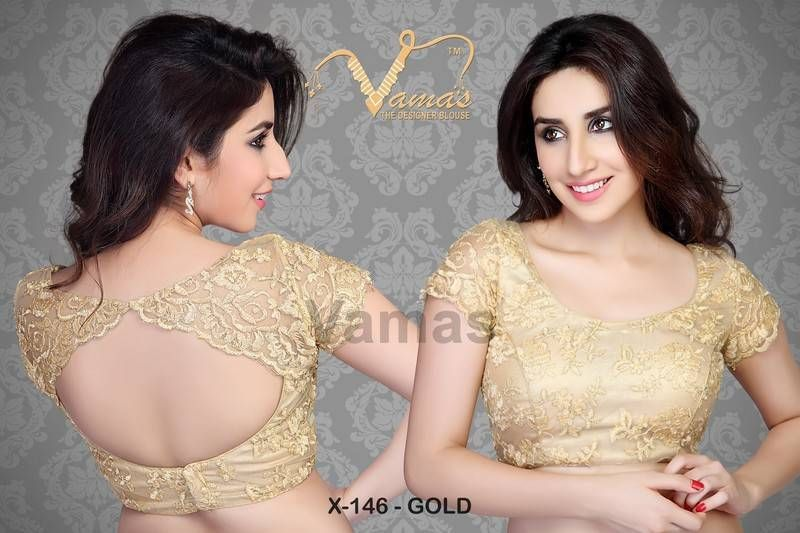 Scalloped effect readymade saree blouse. x146 gold | Antique ...