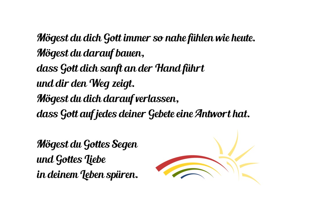 Freebie Kostenlose Grafik Segenswunsch Zur Taufe Kommunion Und