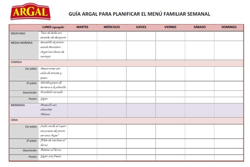 Plantilla menu semanal cocina para estudiantes for Menus faciles de hacer