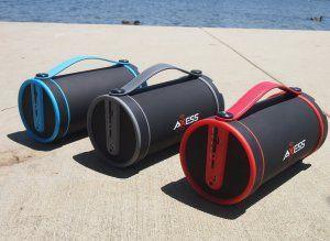 """Amazon.com: Axess SPBT1033-BL Interior / Exterior 2.1 Hi-Fi Cilindro altavoz Bluetooth portátil con tarjeta SD, AUX y FM Entradas, 4 """"Sub En Color Azul: Reproductores de MP3 y Accesorios"""