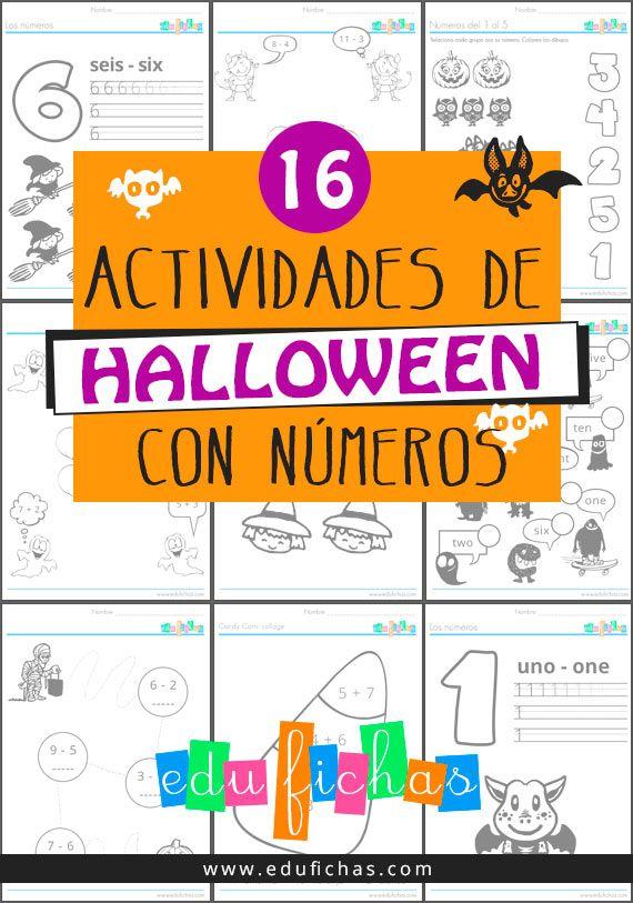 16 actividades de halloween con numeros   Actividades para niños ...