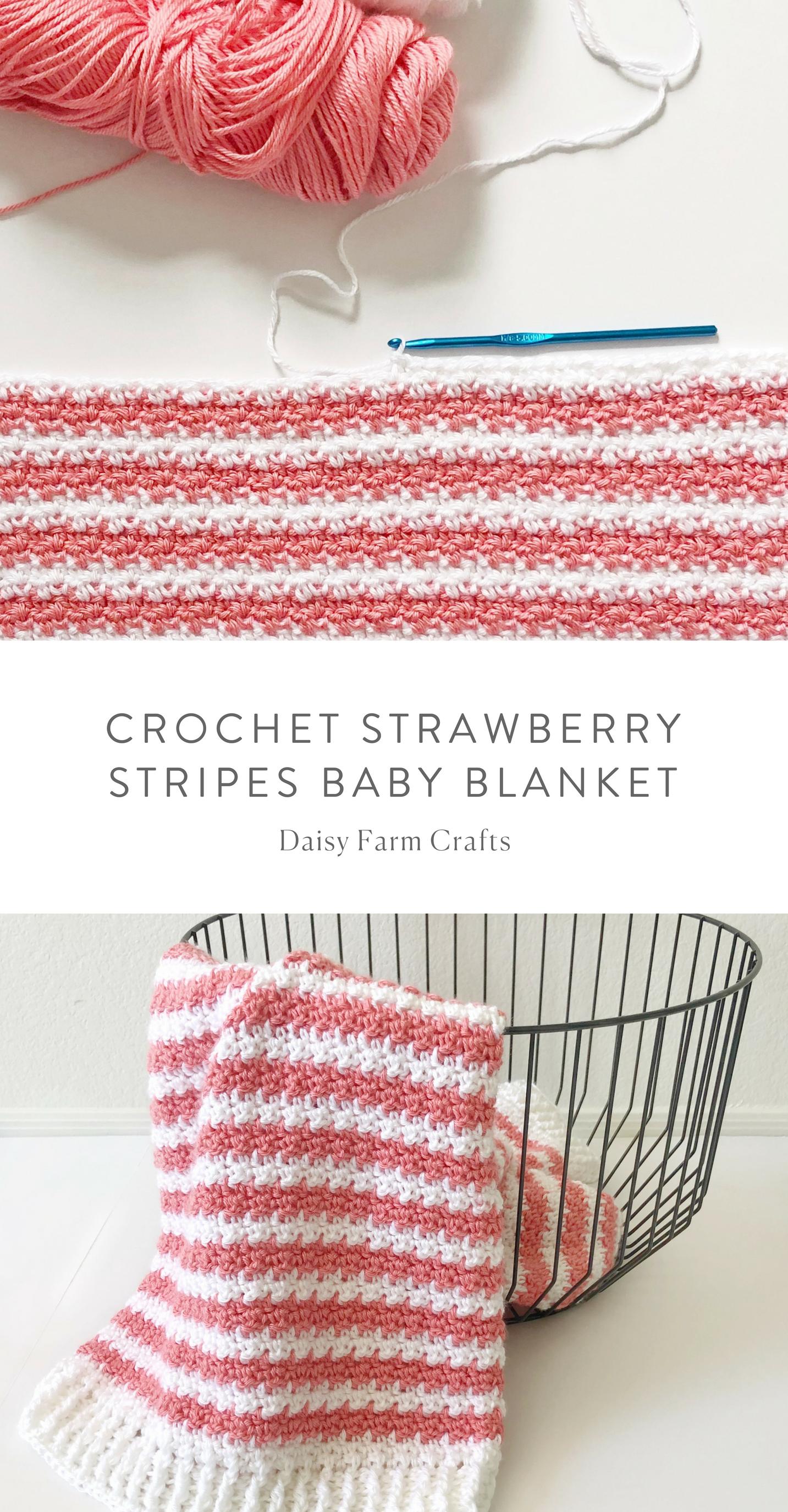 Free Pattern - Crochet Strawberry Stripes Baby Blanket #crochet ...