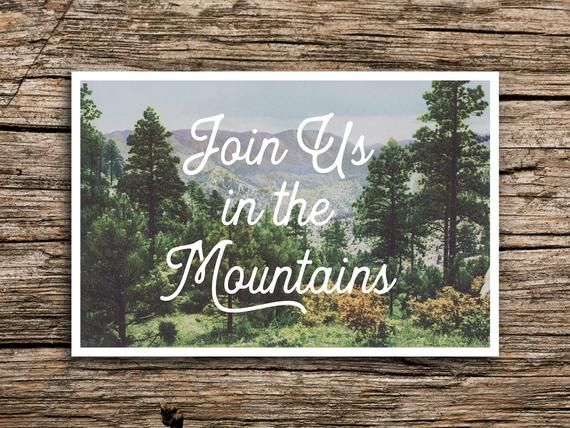 In the Mountains Save the Date Postcard // Mountain Wedding Rocky Mountains Colorado Utah Wedding Vintage Postcard Save the Dates Cards