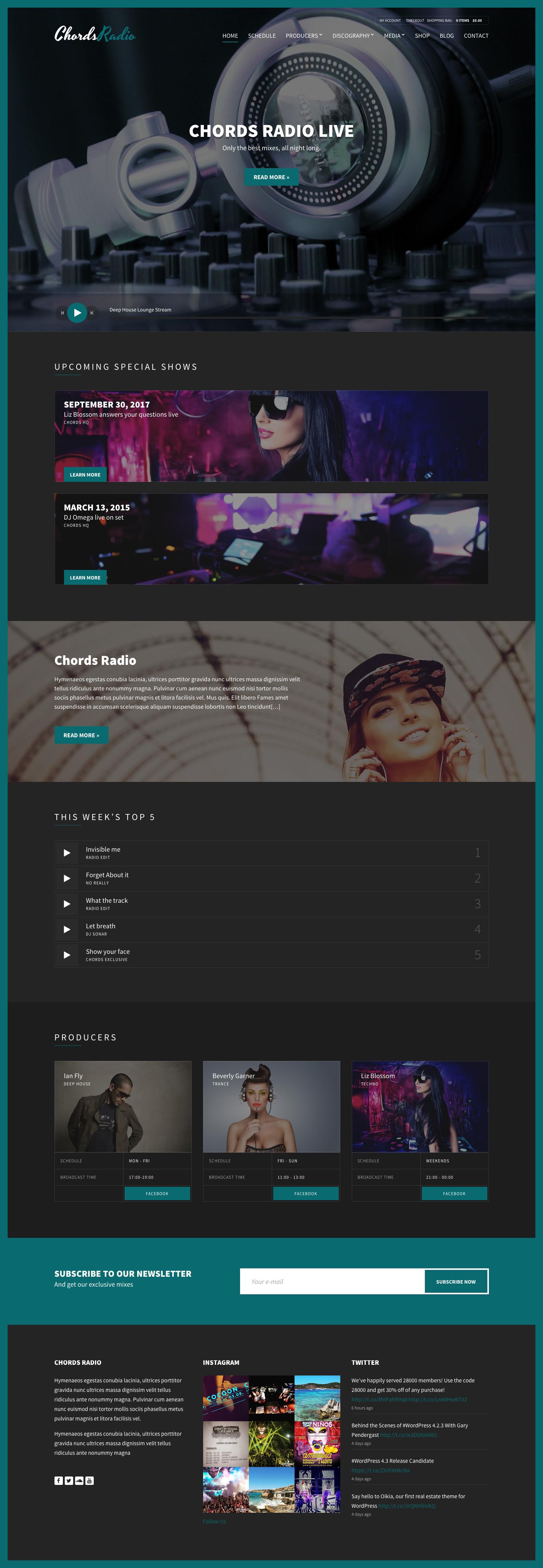 Chords - Music / Artist / Radio WordPress theme | Music artists ...