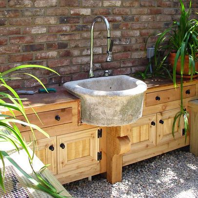 Concrete sink, perfect for the outdoors.   Outdoor sinks ...