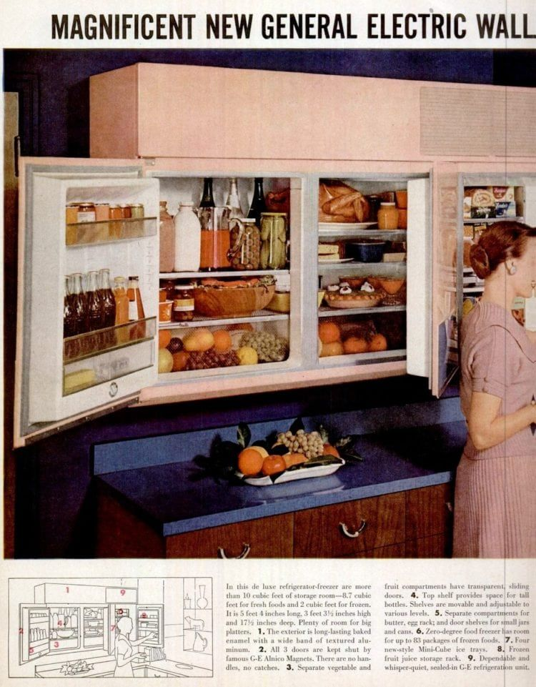 Forget Kitchen Cabinets Install A Wall Mounted Refrigerator Yes This Was Really A Thing In The 50s Installing Cabinets Fridge Design Cool Kitchens