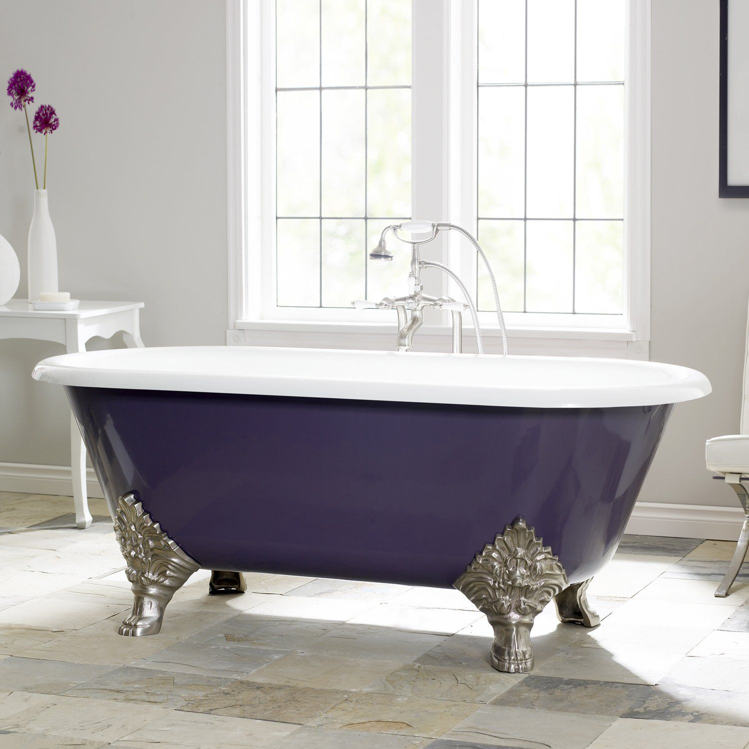 Classic Clawfoot Cheviot 216 Carlton Soaking Tub with a bold purple ...