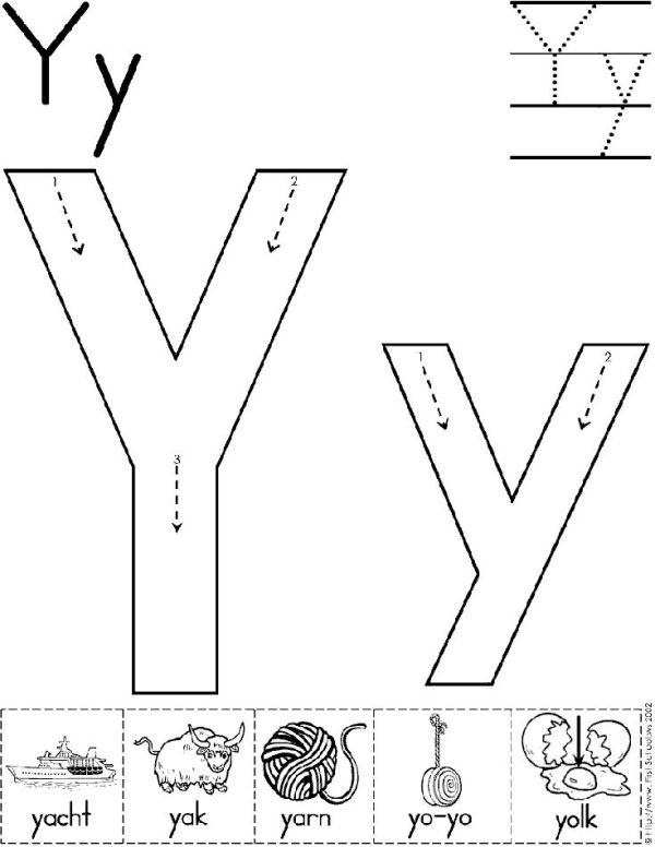 Alphabet Letter Y Worksheet  Standard Block Font  Preschool