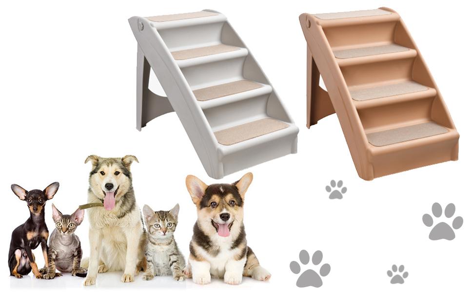 Amazon Gifty 犬 ペット用 ステップ 4段 グレー Gifty ステップ 通販 踏み台 折りたたみ ペット 滑り止めマット