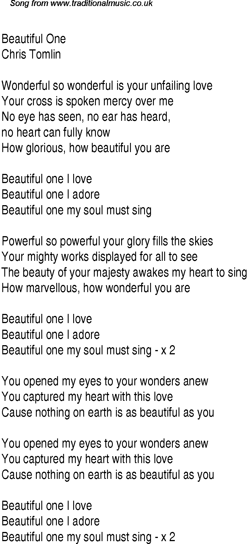 Beautiful one i love lyrics