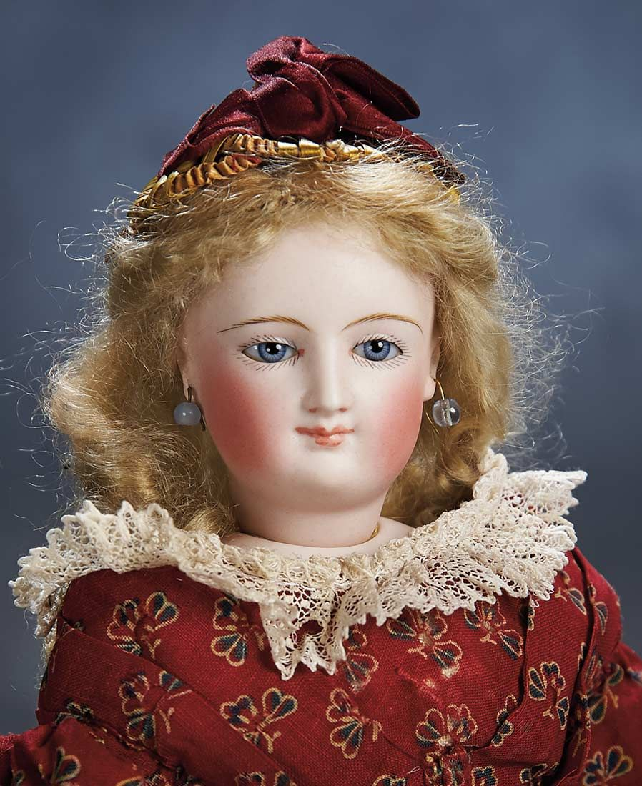 "Theriault's - 14"" French Bisque Smiling Poupee by Leon Casimir Bru, c 1872"