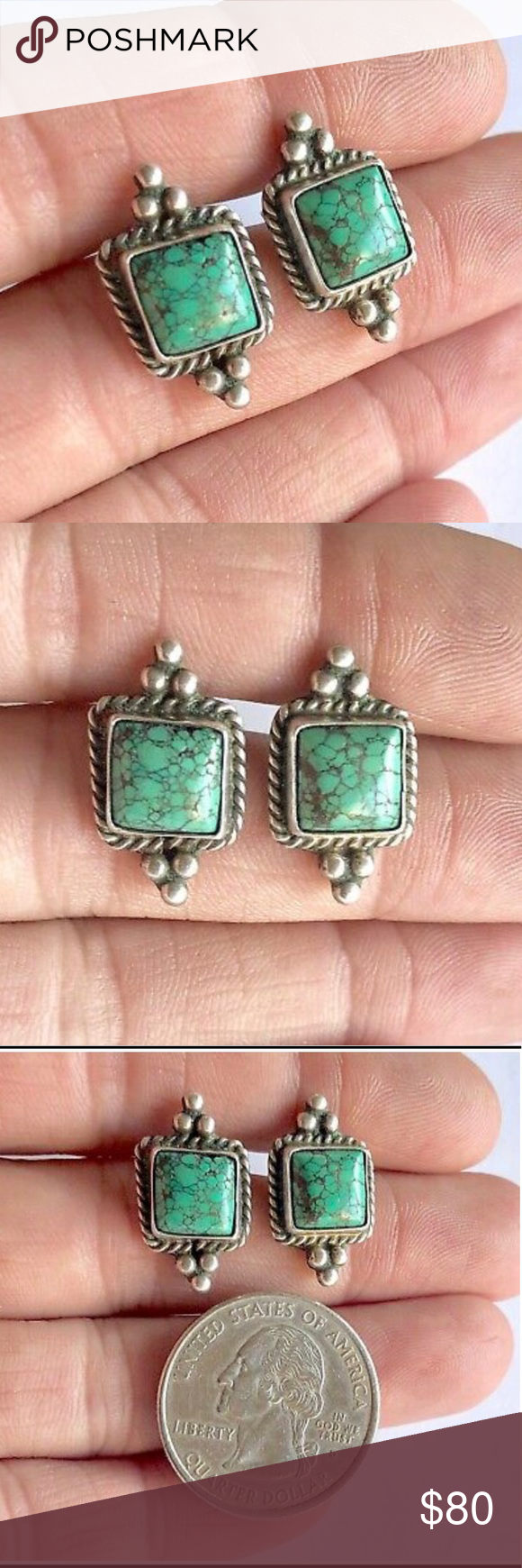 4afbe4b25 Signed Navajo Sterling Turquoise Stud Earrings Vintage Pauline Dolly Foutz  Signed Navajo Sterling Silver Green Spiderweb