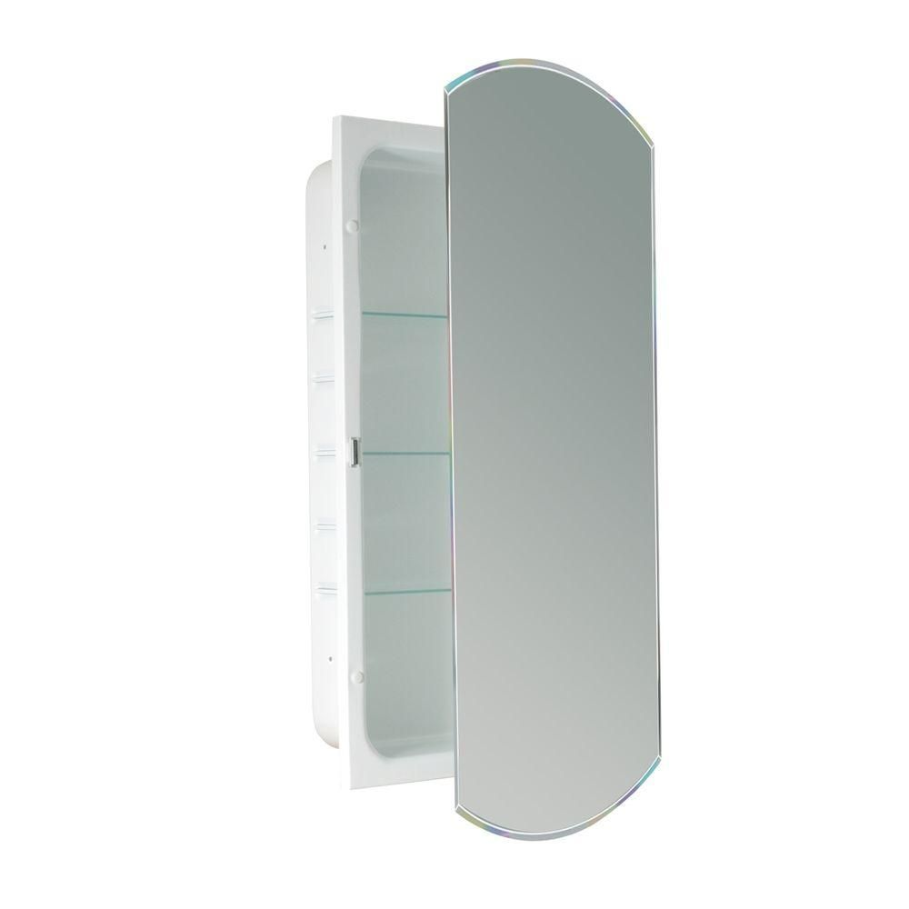 Deco Mirror 16 In W X 30 In H X 4 1 2 In D Frameless Recessed Beveled Eclipse Bathroom Medicine Cabinet Recessed Medicine Cabinet Bathroom Medicine Cabinet Adjustable Shelving