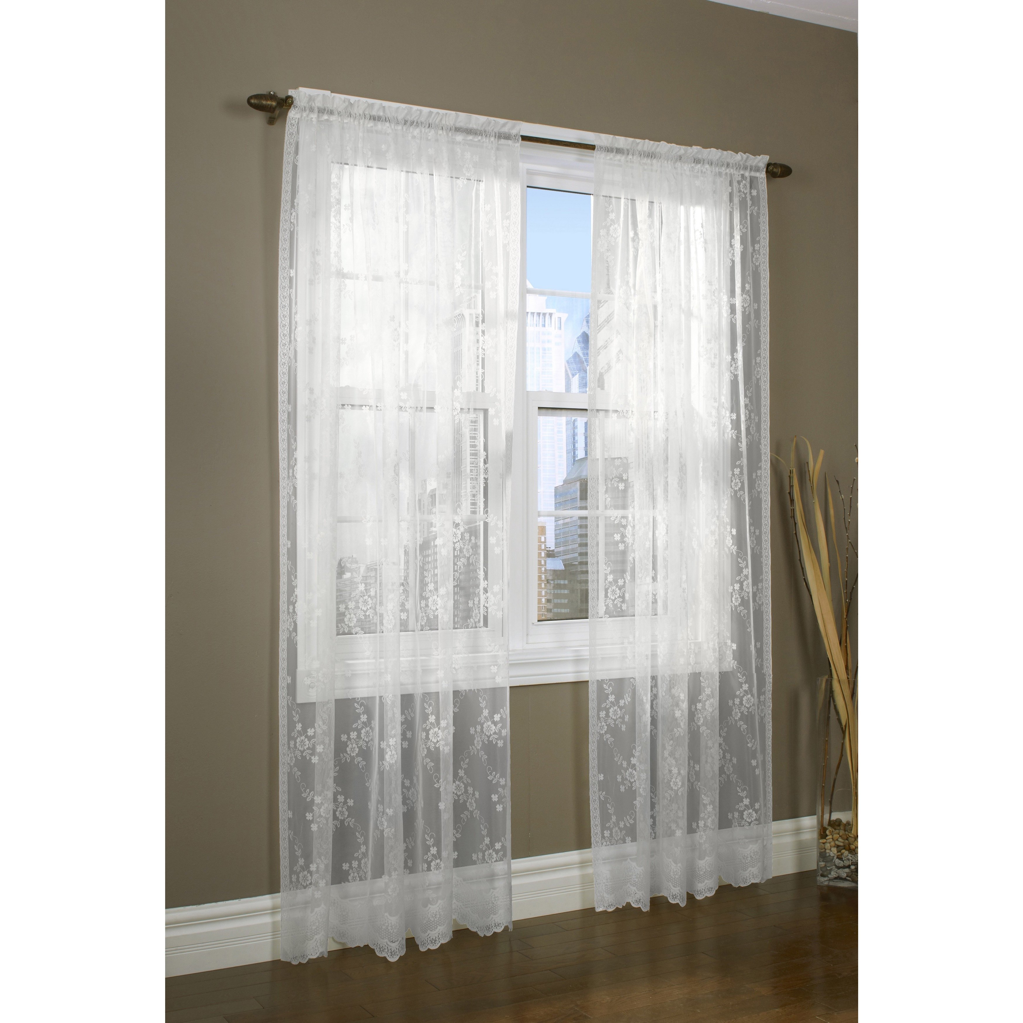 Mona Lisa Lace Window Curtain Panel N A Cream Ivory Lace
