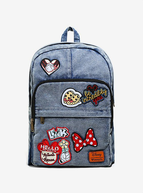 278960cf84d Loungefly Disney Minnie Mouse Denim Patch Backpack - BoxLunch Exclusive