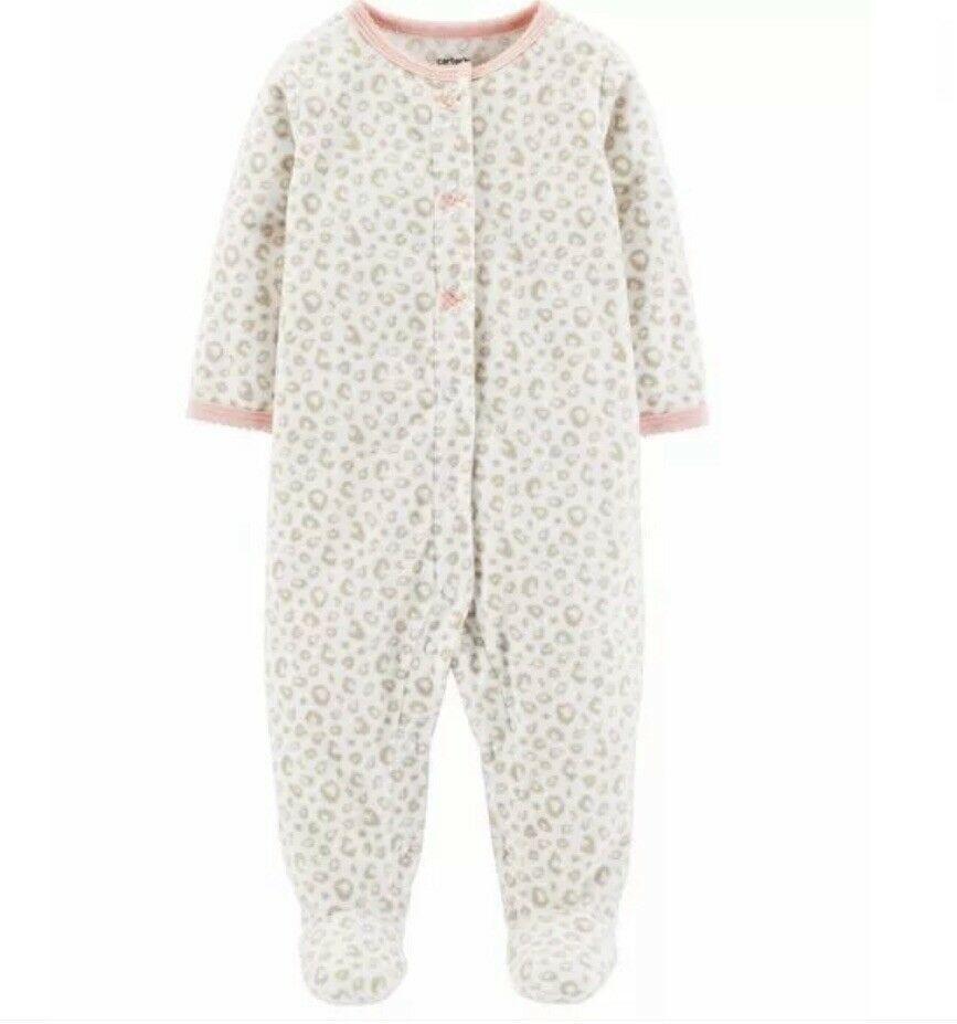 ae9049e42460 Carter s Leopard Heart Snap-Up Fleece Sleep N Play Sleeper Girls 3m ...