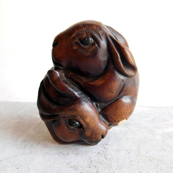 Vintage japanese boxwood carving of cuddling bunnies hand carved