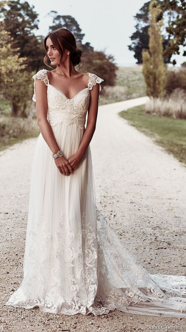 Anna campbell bridal cap sleeves sweetheart neckline heavily