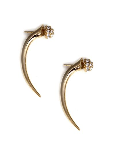 Hysteric Co. for JEWELMINT COLLECTIVEThis Item Ships ImmediatelyThis pair of Pave Talon Earrings will inspire fiercely chic looks with the edgy talons and set with beautiful crystals. Gold plated mixed metal. Pave ball measures .5cm in diameter. Talon measures 2 in length. Note: Certain promo codes and offers may not be used on JewelMint Collective pieces. All Collective pieces have a two-week return policy.